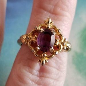 Vintage Avon Victorian style ring purple gem gold